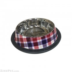 ظرف غذای سگ و گربه استیل چهار خانه رنگی کوچک ام دی اس